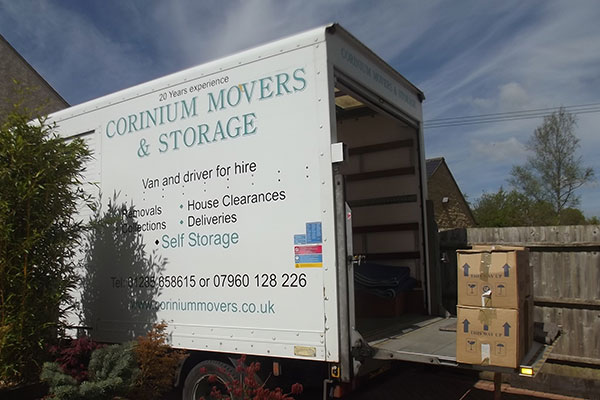 Removals lorry with packing boxes
